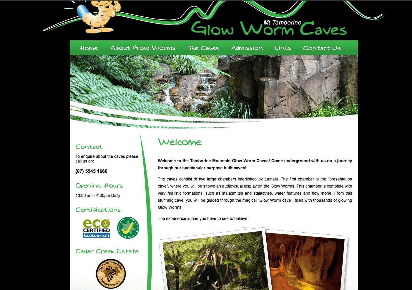 Able Video Mt Tamborine Glow Worm Caves Website
