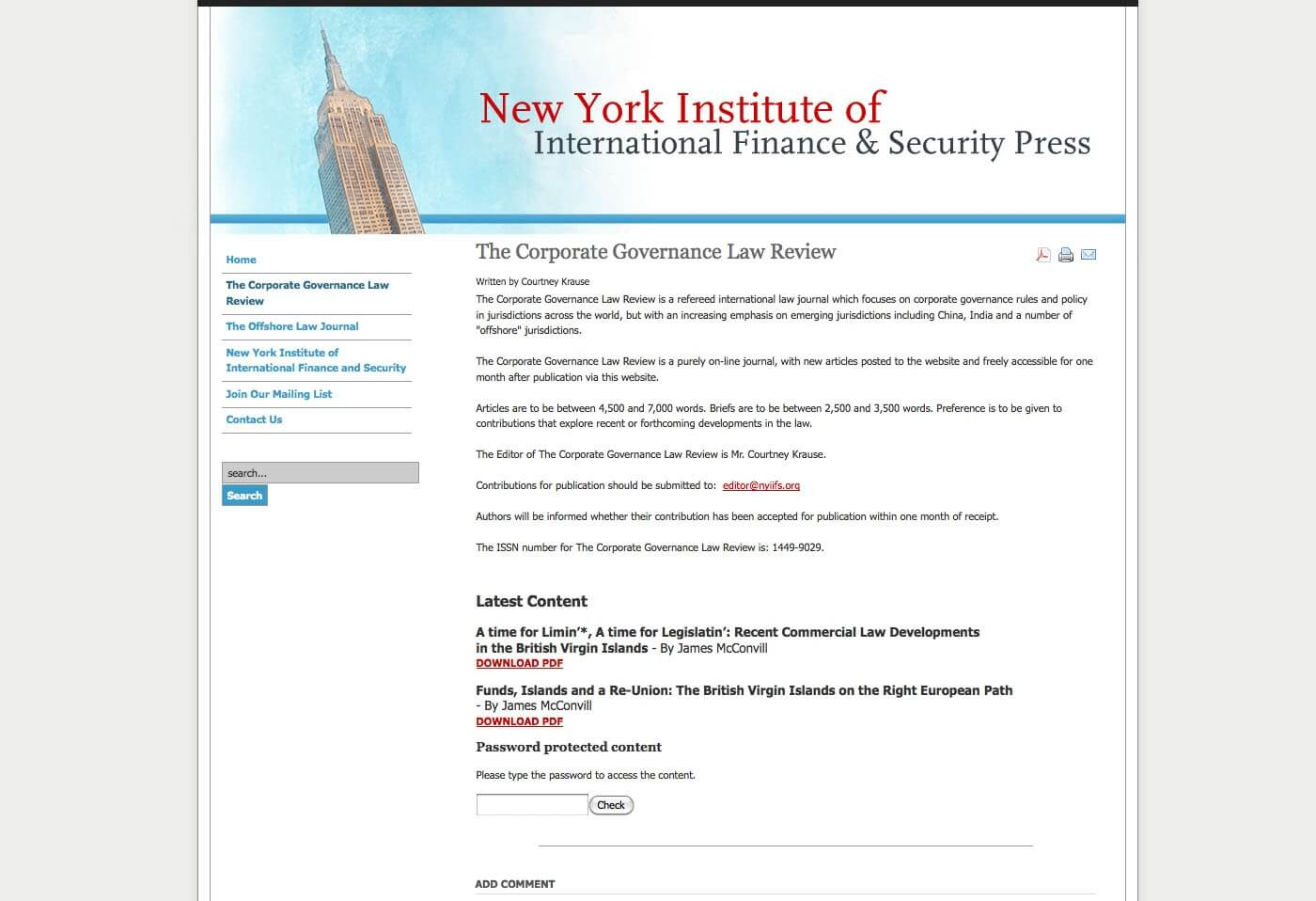 Able Video New York Institute of International Finance and Security Press Website 02