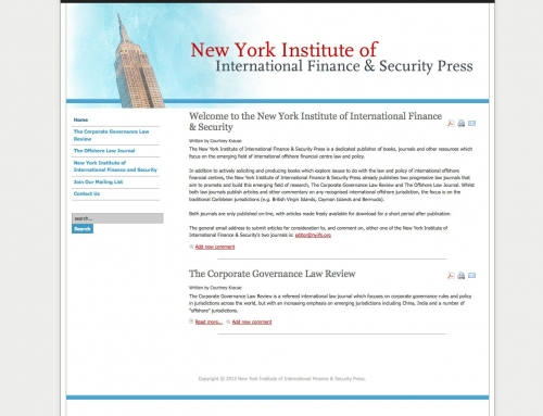 New York Institute of International Finance and Security Press