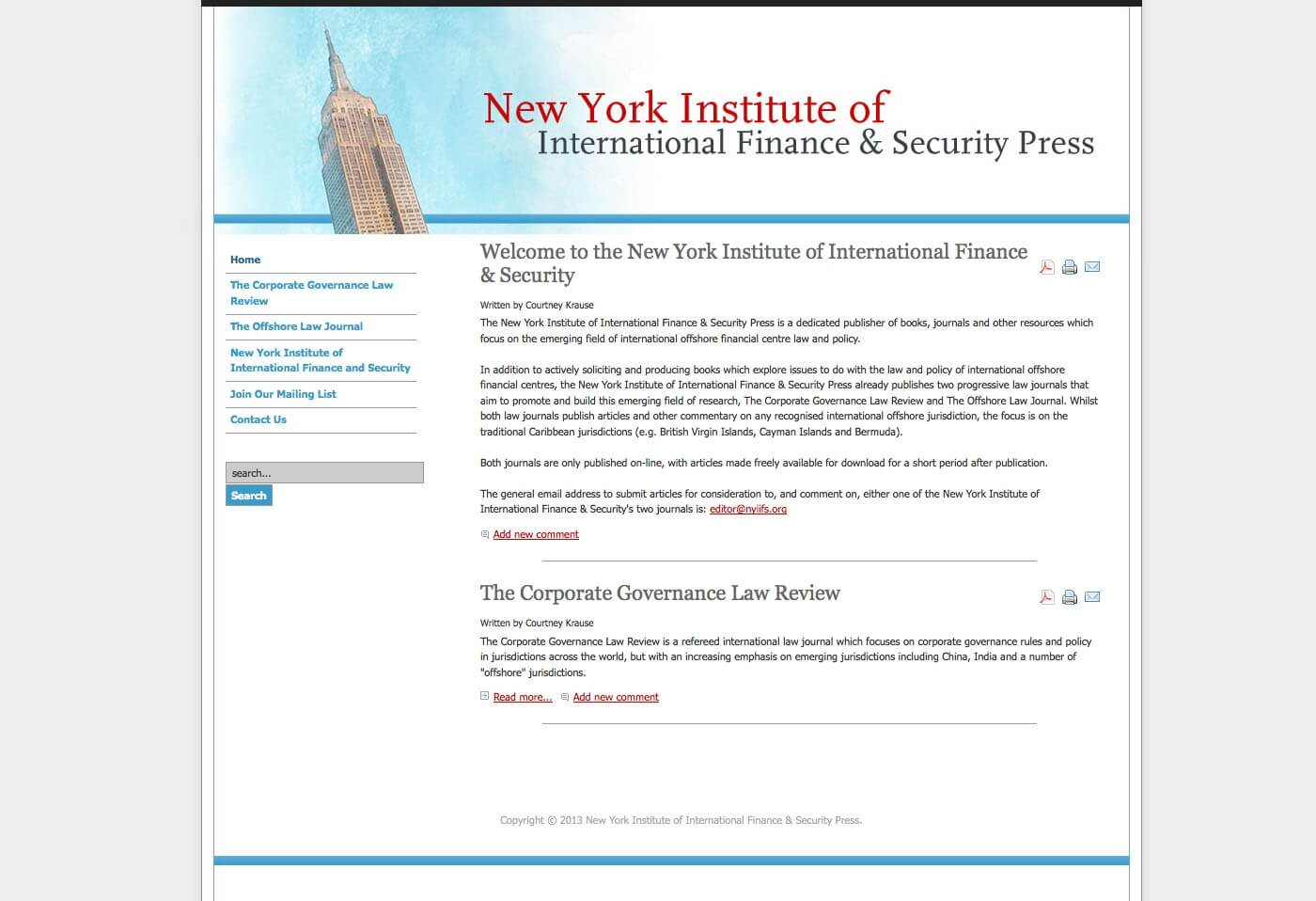 Able Video New York Institute of International Finance and Security Press Website